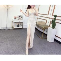 Elegant Sheath Column Spaghetti Straps Zipper Back Ankle Length Ivory Prom Dress With Slit