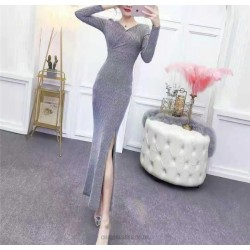 Allure Ankle Length Grey Long Sleeve Prom Dress With Slit Zipper Back V Neck