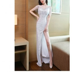 Brilliant  Floor Length Sparkly Prom Dress With Slit Zipper up Illusion Neck With Tassel