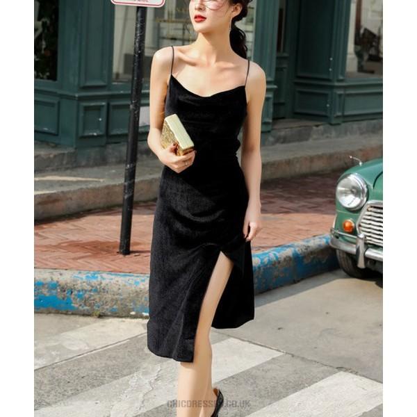 Elegant Temperament Tea Length Black Prom Dress With Slit Spaghetti Straps Bowknot tie at Back Waist New Arrival
