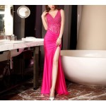 Allure Mermaid Trumpet Rose Red High Slit Prom Dress Deep V Neck With Beading New Arrival
