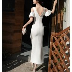 Elegant High Elastic Cotton White Prom Dress With Slit Tassel Invisible Zipper V Neck New Arrival