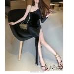 Fashion Sexy Ankly Length Velvet Black High Slit Prom Dress One Shoulder Long Sleeve New Arrival