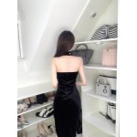 Sexy Petite Sheath Column Black Velvet Prom Dress With Slit Sweetheart Neck Zipper up Back New Arrival