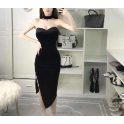 Sexy Petite Sheath Column Black Velvet Prom Dress With Slit Sweetheart Neck Zipper up Back