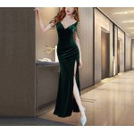 Autumn Floor Length Green Prom Dress With Slit There are Beads on the Shoulders Zipper Back V neck New Arrival