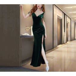 Autumn Floor Length Green Prom Dress With Slit There are Beads on the Shoulders Zipper Back V neck