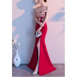Fashion Mermaid Trumpet Red Satin Off The Shoulder Slit Prom Dress Exquisite Embroidery Zipper Back