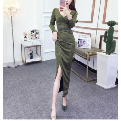 Fashion Sexy Ankle Length Long Sleeve Prom Dress With Slits Bowknot Sashes V neck