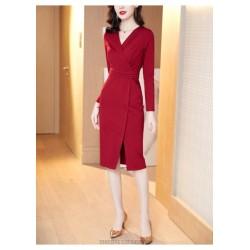 Noble Knee Length Sheath Column Red Long Sleeve Prom Dress With Slits  Zipper Back V Neck