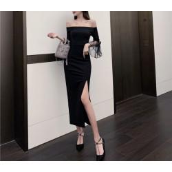 Noble Temperament Tea Length Black Chiffon Off The Shoulder Slits Prom Dress Zipper Back Fashion Long Sleeve
