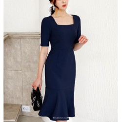 Sexy Knee Length Blue Prom Dress Short Sleeve Invisible Zipper Square Neck Party Dress