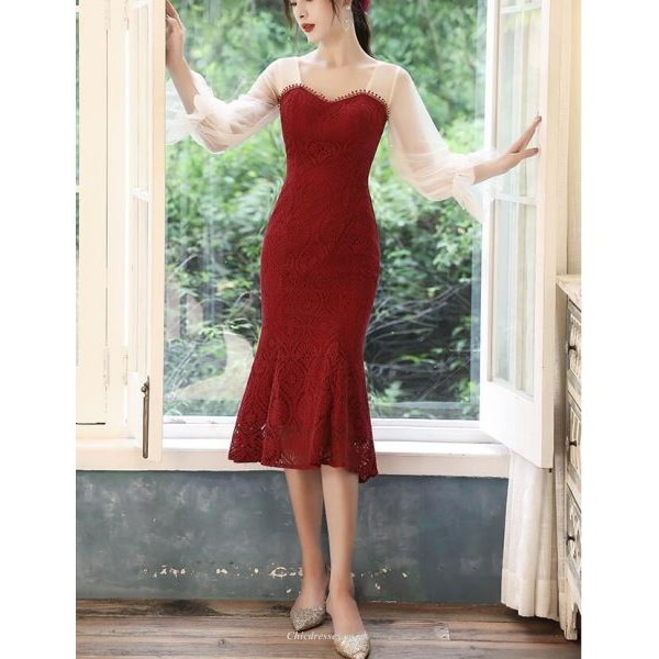 Sexy Tea Length Fish Tail Burgundy Lace Long Sleeve Prom Dress Zipper Queen Anne Neck New Arrival