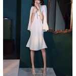 Fashion Knee Length Fish Tail White Satin Prom Dress Zipper Back V Neck Party Outfit With Shoulder Strap New Arrival