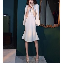 Fashion Knee Length Fish Tail White Satin Prom Dress Zipper Back V Neck Party Outfit With Shoulder Strap