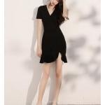 Sexy Short Fish Tail Black Chiffon Prom Dress Short Sleeve Zipper Back V Neck New Arrival