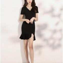 Sexy Short Fish Tail Black Chiffon Prom Dress Short Sleeve Zipper Back V Neck