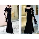 Noble Floor Length Mermaid Black Prom Dress Shoulder Strap Zipper Back Square Neck Evening Attire With Slits New Arrival