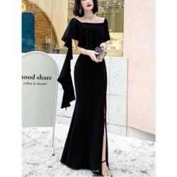 Noble Floor Length Mermaid Black Prom Dress Shoulder Strap Zipper Back Square Neck Evening Attire With Slits