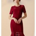 Sexy Knee Length Burgundy Lace Prom Dress Short Sleeve Zipper Back Crew Neck New Arrival