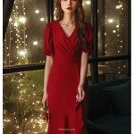 Fashion Fish Tail Burgundy Chiffon Prom Dress Ruffles Short Sleeve Zipper V Neck New Arrival
