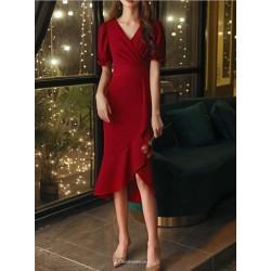 Fashion Fish Tail Burgundy Chiffon Prom Dress Ruffles Short Sleeve Zipper V Neck