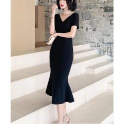 Noble Tea Length Fish Tail Black Prom Dress Short Sleeve Zipper V Neck