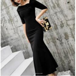 Noble Tea Length Fish Tail Black Prom Dress Half Sleeve Zipper Fashion Shoulder Neck