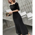 Noble Tea Length Fish Tail Black Prom Dress Half Sleeve Zipper Fashion Shoulder Neck New Arrival