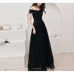 Brilliant Floor Length Off The Shoulder Lace up A-line Black Lace Prom Dress With Sequines New Arrival
