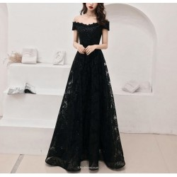 Brilliant Floor Length  Off The Shoulder Lace up A-line Black Lace Prom Dress With Sequines