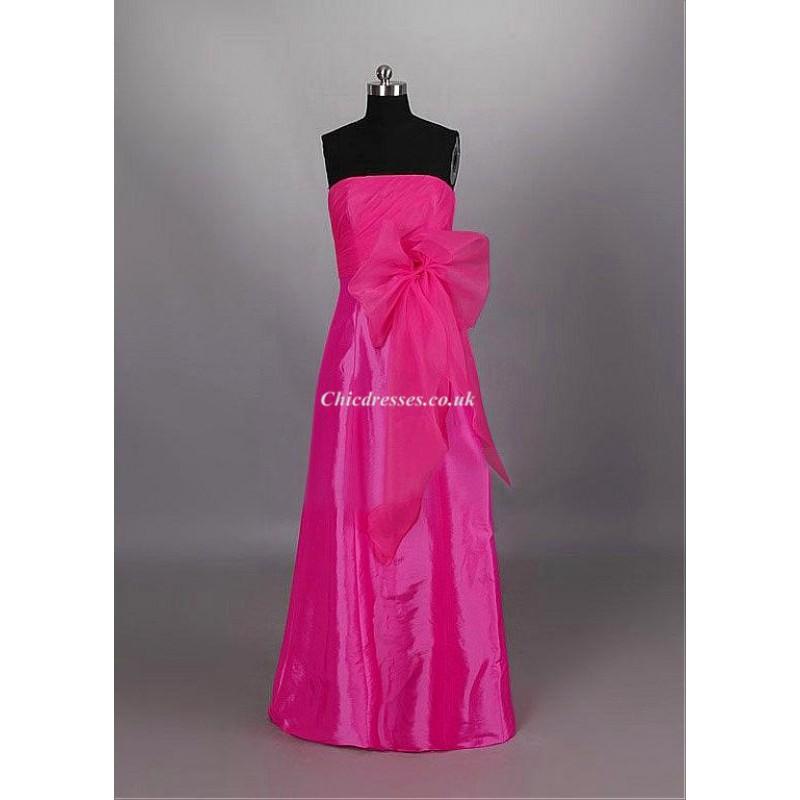Floor Length Pink Bridesmaid Dresses Strapless Long Dresses For ...