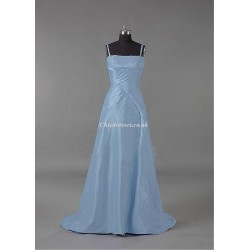 Trailing Bridesmaid Dresses Spaghetti Straps Blue Dresses For Party