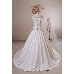 Ball Gown Wedding Dress Ivory Chapel Train Straps Satin