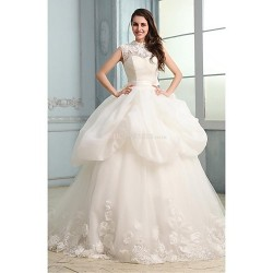 Ball Gown Wedding Dress - White Chapel Train High Neck Organza