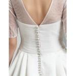 A-line Princess Jewel Court Train Beading Tulle Wedding Dress Wedding Dresses