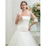 Fit & Flare Plus Sizes Wedding Dress - Ivory Sweep/Brush Train Strapless Tulle Wedding Dresses