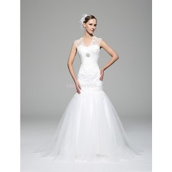 Trumpet Mermaid Wedding Dress White Court Train V Neck Lace Satin