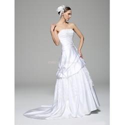 A Line Wedding Dress White Court Train Strapless Lace Satin