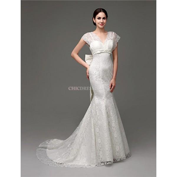 Trumpet/Mermaid Wedding Dress - White Court Train V-neck Lace Wedding Dresses