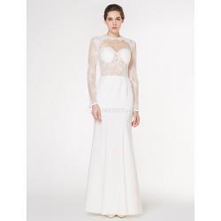 Trumpet Mermaid Wedding Dress Ivory Floor Length Jewel Lace Charmeuse
