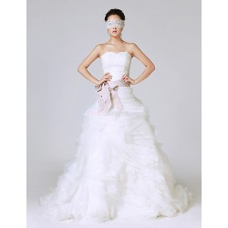Princess Wedding Dress White Sweep Brush Train Strapless Lace Organza Stretch Satin