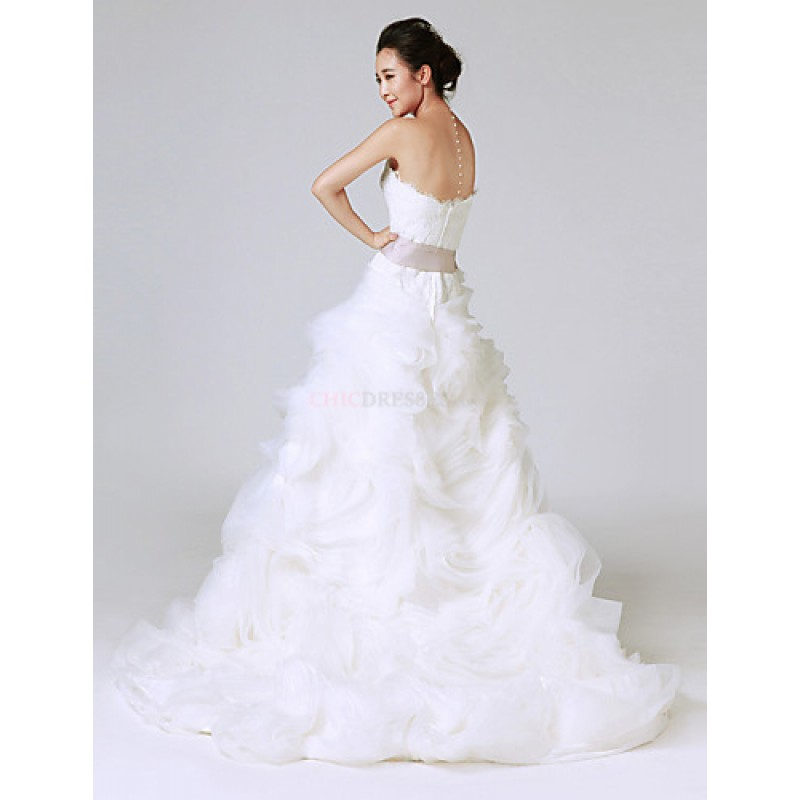 Cheap Wedding Dresses Colorado Springs: White Sweep/Brush Train Strapless