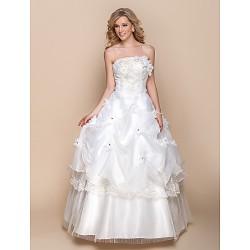 A Line Wedding Dress Ivory Floor Length Strapless Organza
