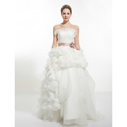 A-line Wedding Dress - White Chapel Train Strapless Organza