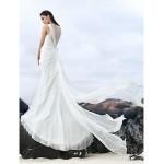 Sheath/Column Court Train Wedding Dress - Bateau Chiffon/Lace Wedding Dresses