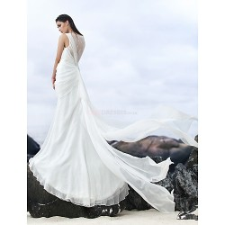 Sheath/Column Court Train Wedding Dress - Bateau Chiffon/Lace