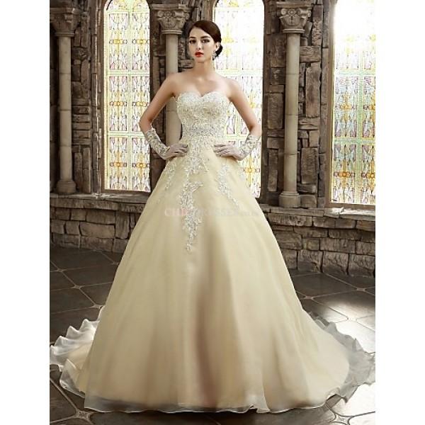 A-line Wedding Dress - White/Champagne Chapel Train Strapless/Sweetheart Satin Wedding Dresses