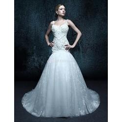 Sheath/Column/Trumpet/Mermaid Court Train Wedding Dress - Spaghetti Straps Lace