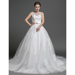 Ball Gown Wedding Dress - Ivory Chapel Train Jewel Lace / Tulle